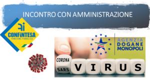 INCONTRO CON AMMINISTRAZIONE              CORONA VIRUS, COVID-19